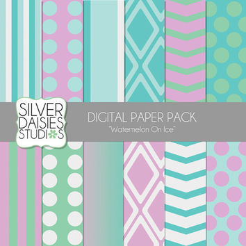 "Watermelon Digital Paper 12 Pack- 12""x12"" Watermelon On Ice Pattern Pink, Green, Blue Themed Set - Digital Scrapbooking"