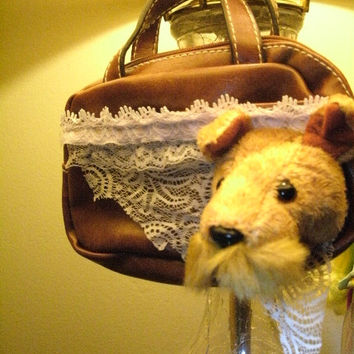 MONTANA change purse phone purse mini lil bag with a doggie on it lace