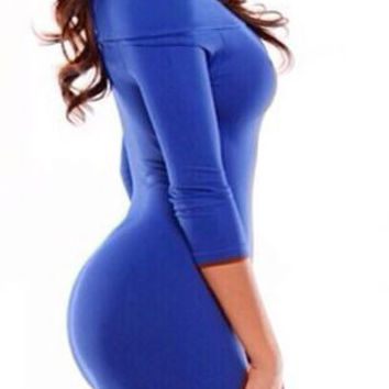 Blue Slash Neck Body-con Mini Dress