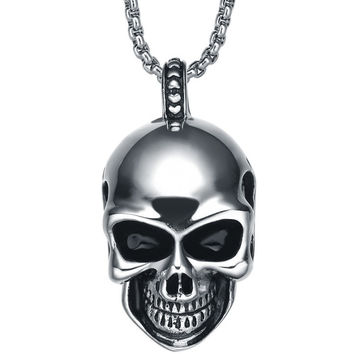 Stainless Steel Gothic Smiling Skull Pendant Necklace