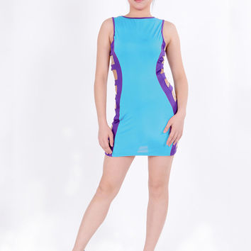 Color Block Sleeveless Cut-Out Side Mini Dress