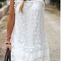 Lace Embroidered Dress With Pompom Trim