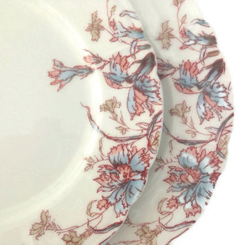 Antique Limoges Plates-Dessert Plates-Early 1900's-Floral on White-Vintage China-Set of 6-Bread and Butter Plates-