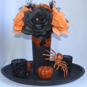 Black and orange wedding centerpieces, Orange and black Wedding Decor, Orange Bridal decor, Floral decor, Quinceanera, Holiday decorations