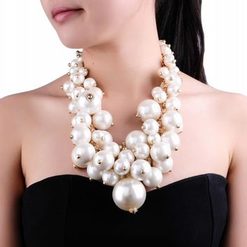Fashion Gold Chain White Pearl Beads Cluster Choker Bib Pendant Necklace Perfect Party Valentine's Wedding Gift
