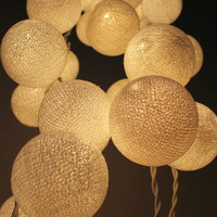 White Cotton Ball String Light  Fairy Light Bedroom or Party