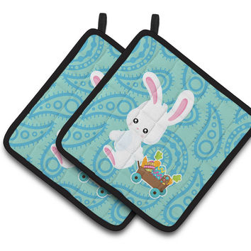 Easter Rabbit Paisley Blue Pair of Pot Holders BB6898PTHD