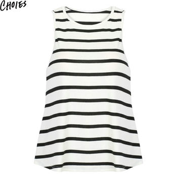 Women Monochrome Stripe Print Racer Back Swing Cotton Tank Top Loose Vest 2016 Summer New Fashion Sleeveless Casual Tee Tops