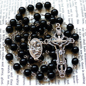Saint Joseph Rosary - Catholic Rosary, Black Obsidian Beads, Large Rosary