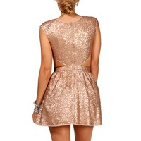 SALE-Gold/Ivory Sequin Cutout Dress