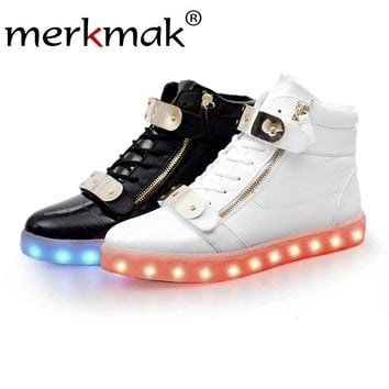 Merkmak 2018 Women Shoes Fashion Unisex Sequined Boots Luminous Lover Flash Ankle Boots USB Charging Light Up LED Shoes Adults