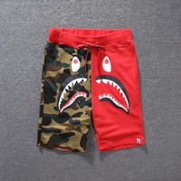 Men's Fashion Camouflage Print Patchwork Couple Pants Shorts