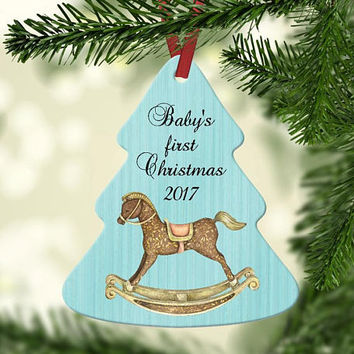 Baby's First Christmas - Tree Shaped Christmas Ornament - Gift for New Mom - Baby Shower Present -  Rocking Horse Christmas Tree Ornament