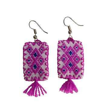 Embroidered Rectangle Patch Earrings