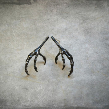Gothic Raven Claw Earrings, Witchcraft Witch Wiccan Jewelry, Bird Talon Earrings, Sterling Silver, Macabre Jewelry Creepy Edgar Allan Poe