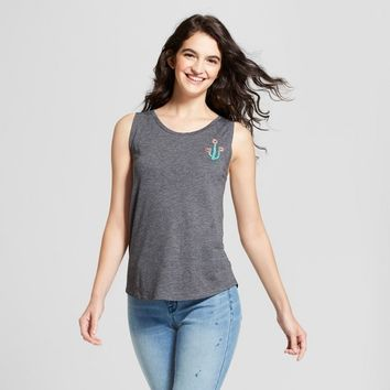 Women's Drapey Tie-Back Cactus Graphic Tank Top - Fifth Sun (Juniors') Gray