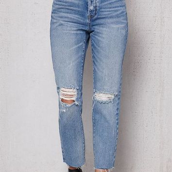PacSun Ladder Blue Ripped Mom Jeans at PacSun.com