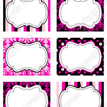 INSTANT DOWNLOAD diy  Barbie Inspired  Birthday Party  PRINTABLE Food Labels favor tags Pink black white  polka dots damask stripes