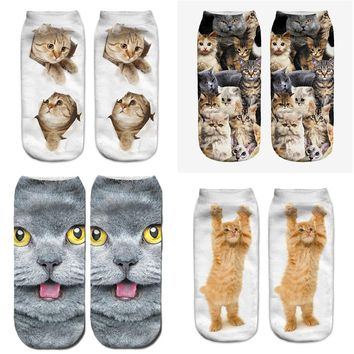 2018 New 3D Printing Women Socks Brand Sock Fashion Unisex Socks Cat Pattern Meias Feminina Funny Low Ankle HOT Sox funny cat