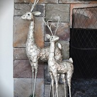 French Country Christmas Home Decor Collection Champagne Glitter Artichoke Leaf Covered Deer Statues
