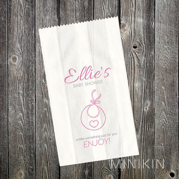 Baby Shower - Lolly Bags - Girls - Bib - Favour - Customized - Cake Bags - Candy Bags - Buffet Bags - White Paper Favor Bags Pink Small
