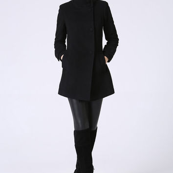 Black wool coat mini coat women coat (1070)