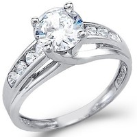 14K White Gold Round Solitaire Cubic Zirconia Engagement Ring, 1.5ct