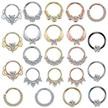 1PC Brass Nose Piercings 20G Nariz Piercings 18G Septum Rings Daith Piercings Nose Earrings Conch Rook Piercings Body Jewelry