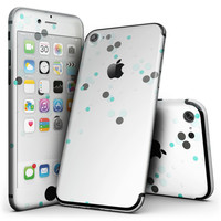 Abstract Scattered Black and Teal Dots - 4-Piece Skin Kit for the iPhone 7 or 7 Plus