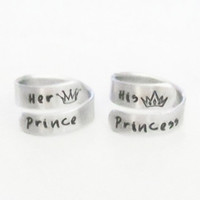 Valentines gifts - Prince princess crown tiara rings - Couple her prince his princess promise rings - Boyfriend girlfriend anniversary gifts