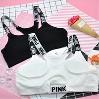 """""Pink"" Letter Women Crop Top Cropped Padded Bra Tank Top Vest Fitness Women's Tanks Workout Bras camisole regata feminina"