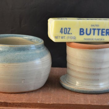 Handmade Ceramic French Butter Crock - Antique Blue and Ivory