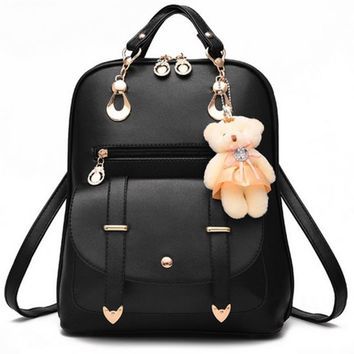 High Quality 2017 New Women Backpack Spring And Summer Students Backpack Girls Korean Style Backpacks With Bear Pendant