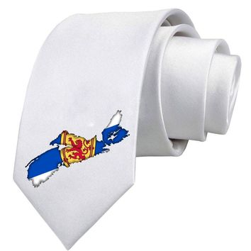 Nova Scotia Flag - Canada Shape Printed White Necktie