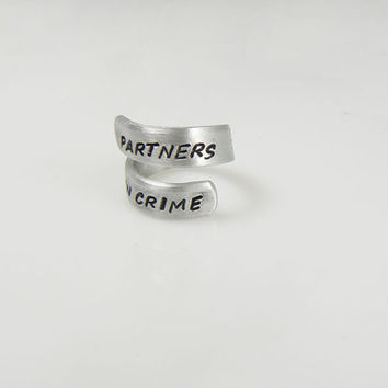 Partners In Crime Hand Stamped Aluminum Spiral Ring Gift For A Friend