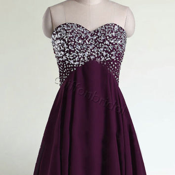 Beaded short prom dress purple prom dress homecoming woman formal short evening dress pageant dress,cocktail dress,bridesmaid dress wedding
