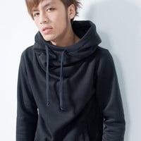 Wholesale Korea Fashion High Round Neckline Long Sleeve Hoodie For Men (LIGHT GREY,L), Hoodies - Rosewholesale.com