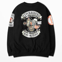 Japanese Tide Brand West Coast Punk Skull Tattoo Locomotive Ptint Skatebord Sweatshirt High Street Hip Hop Hoodies Man And Women
