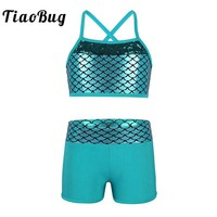 TiaoBug Kids Girl Tankini Suit Sequins Mermaid Scales Crop Top with Shorts Set for Gymnastics Workout Ballet Party Dance Wear