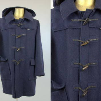 Vintage Wool Duffle Coat English Gloverall Blue Hooded Toggle Coat, 44