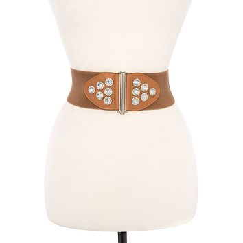 Round gem accent stretch belt
