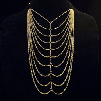 industrial ribcage II // multi layered gold toned chain necklace