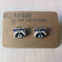 Raccoon Earrings / Woodland Animal Ear Studs