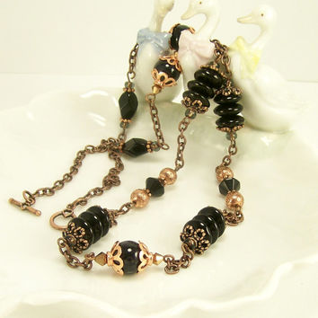 Unique Mixed Media Rustic Beaded Necklace in Black and Copper / Glass and Gemstone Jewelry