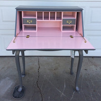PORTFOLIO Secretary Desk  - Slate and Pink Painted Curved Leg Table