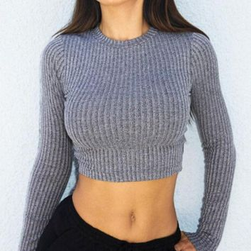 DCCKJ2X Cross Straps Ribbed Knitted Sweater in Gray or Black
