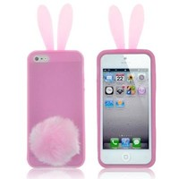 Rabbit Silicone Case Pink Bunny Ears Soft Rubber Cover Tail Skin Furry Tail For iPhone 5C