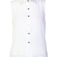 Pearl Collar Chiffon Blouse / White - Womens Clothing Sale, Womens Fashion, Cheap Clothes Online | Miss Rebel