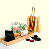 Vintage Japanese Calligraphy Writing Set in Wooden Box Case Portable Art Kit Ink Sticks