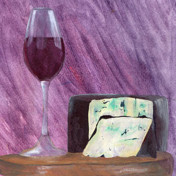 Wine and Bleu Cheese Painting, Kitchen Painting, Home Decor, Food and Wine Art